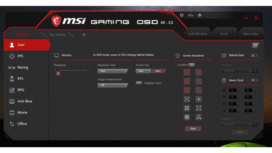 Capture d'écran du logiciel inclus avec le moniteur de MSI
