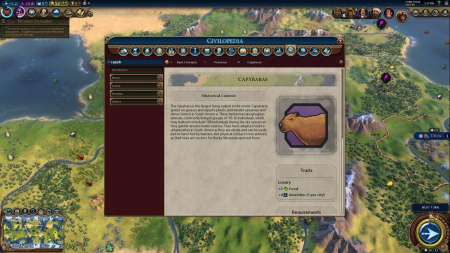 Une photo de l'encyclopédie en jeu pour Capybara