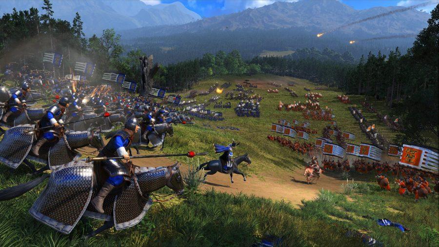 deux armées s'affrontent, l'une teintée de bleu, l'autre rouge. unités montées à l'avant.