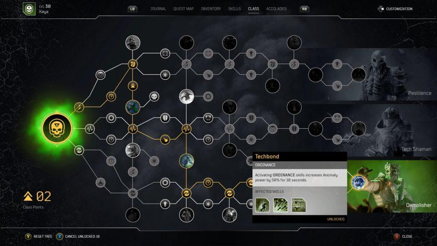 Un arbre de compétences dans Outriders