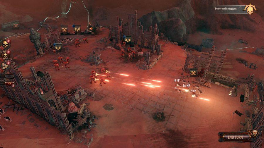 Warhammer 40000: Des unités d'anges de sang du secteur de combat tirent sur des tyranides