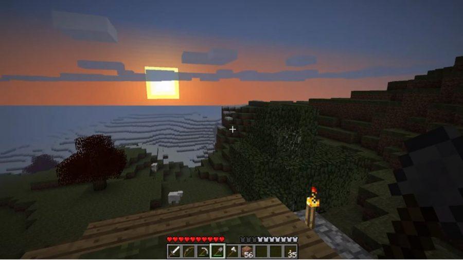 Coucher de soleil dans les terres lointaines ou buste Minecraft Jouons
