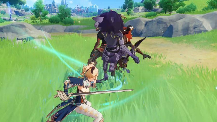 Jean charge sa lame pour suspendre un groupe d'ennemis dans les airs. C'est l'une des tactiques soutenues par les meilleurs builds de Genshin Impact pour elle.