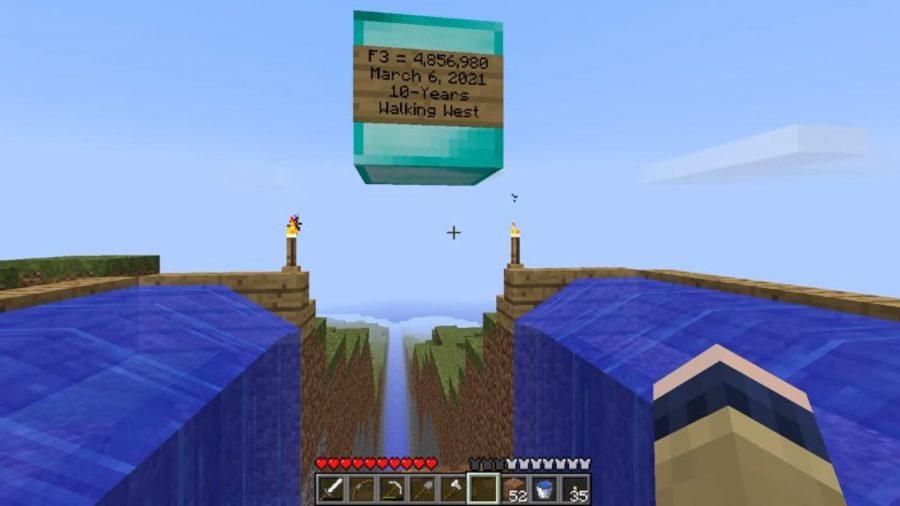 Monument dans les terres lointaines ou buste Minecraft Jouons
