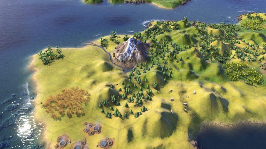 Une péninsule civ 6 avec des collines plus définies